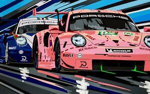2018 Le Mans Porsche 911 RSR Pink Pig Pop Art Limited Edition Signed Art Prints
