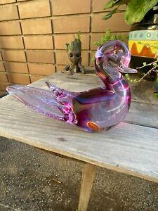 Stunning Genuine Murano Dichroic Purple Art Glass Duck