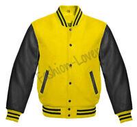 Varsity Bomber Letterman Baseball Yellow Wool & Black Leather Sleeves jacket
