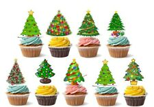 30 Xmas Christmas Tree Cup Cake Fairy Bun Toppers Edible Party Kids STAND UP