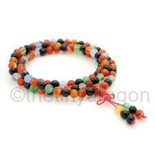 MULTI COLOR AGATE MALA 108 6mm Prayer Beads Necklace Stretch Wrap Bracelet Yoga