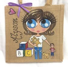 Personalised Jute Handpainted Handbag Hand Bag  - Best Nana Grandma Mum