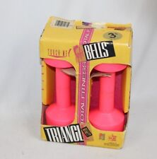 Vintage NOS 1980s RETRO HOT PINK 3 lbs Set Fitness Triangle Pro Soft Dumb Bells