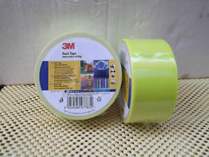 """2X 15 meter """"3M"""" DUCT TAPE NEON YELLOW EXTRA STRONG"""