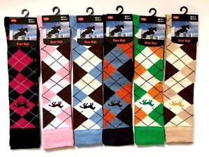 6 X Pairs Ladies Argyle Horse Design Horse riding Socks Ladies Knee high Socks