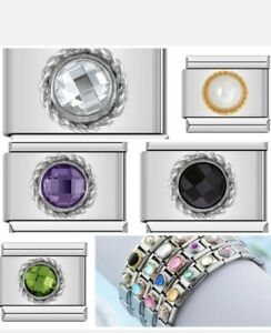 CRYSTAL ROUND GEMS birthstone Charms that fit 9mm Nomination +gift pouch-NC170