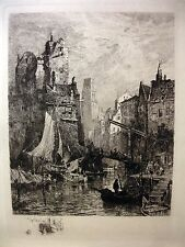 Set of 2 Etchings (Fishing Village & Boats)