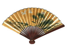Vintage Decorative Asian Paper Fan Hanging Chinese Wall Decor Lotus Metallic