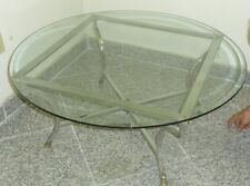 Jansen Style 70's Chrome  Brass Glass Top Coffee Table