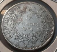France 5 Francs, 1874, Denomination within wreath