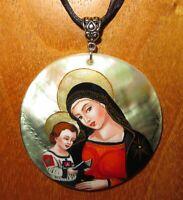 Pinturicchio Madonna mit Kind Anhänger Muschel Handgefertigt Pintoricchio