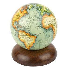 Globe on Wooden Pedestal Terrestrial World Globe 10cm