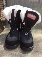 KHOMBU black Suede/nylon Lace Up Waterproof sz.8.5M Boots w/white Faux Fur