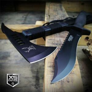 2PC Black Tactical TOMAHAWK Throwing Axe & COMBAT BOWIE Survival Hunting SET