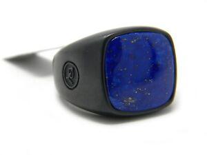 David Yurman Size 10.25 18mm Cushion Signet Ring Lapis / Black Titanium NWT