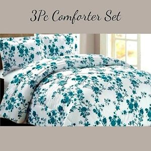 3Pc Bella Comforter Bedding Set Floral Teal With Separately Sold Fitted Sheet