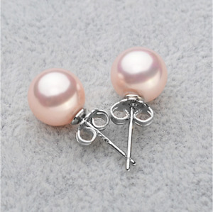 925 Sterling Silver 8mm Round Natural Tahitian Shell Pearl Stud Post Earrings