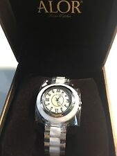 NEW ALOR CAVO CERAMIC White Mother Of Pearl Stainless Steel Swiss Watch $695