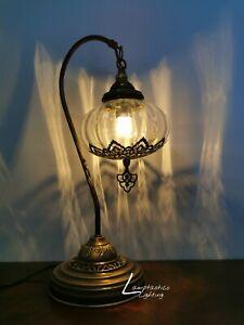 Luxurious Bohemian Turkish Moroccan Style Blown Glass Ottoman Desk Table Lamp