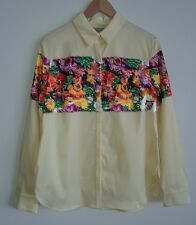 CLOVER CANYON Yellow Floral Embellished Shirt Blouse Top Size M NWT $375