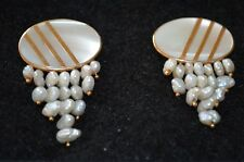 14K Gold Mother of Pearl Disc with Fresh Water Pearls Post Pierced Earrings