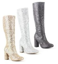 WOMENS LADIES KNEE HIGH SPARKLE EMBELLISHED GLITZ PARTY KNEE BOOTS SHOES SIZE