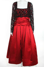 Mignon Red Long Sleeve Sequin Embellished Pleated Ball Gown Size 8