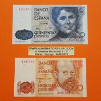 2 billetes SIN SERIE 200 PESETAS 1980 + 500 PESETAS 1979 Pick 156+157 SC España