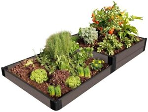 Raised Garden Bed 4 ft. x 8 ft. x 11 in. Rectangle Composite Weathered Wood