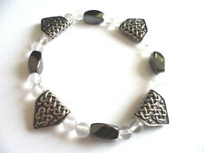 Celtic Pewter Dragons Teeth Bracelet with Clear Quartz & Hematite. Courage