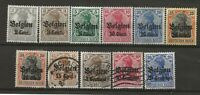 German Empire Postage Stamps Surcharged Cent Centimes & Overprinted Belgien 1914