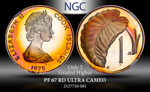 1975 COOK ISLANDS 1 CENT NGC PF 67 RD ULTRA CAMEO TONED ONLY 5 GRADED HIGHER