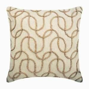 16x16 inch Pillow Cover Decorative Ecru Beige, Cotton Linen Jute - Jute Shoot