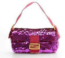 Fendi Pink Sequin & Leather Baguette Bag
