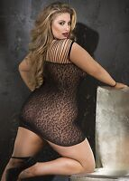 Leopard Print Stretch Mesh Chemise New Adult Womens Valentine Black Queen Size