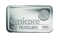 Silberbarren 10 Gramm Umicore 999 Feinsilber 10g silverbar