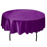 145cm Round Satin Tablecloths Fabric Wedding Table Cover Banquet Home Dinner Dec