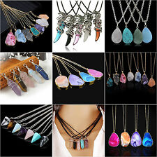 Fashion Natural Chakra Bead Crystal Quartz Stone Healing Point Pendant Necklace