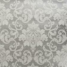P+S White Grey Silver Traditional Damask Wallpaper Textured Embossed Vinyl