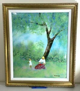 "Listed Artist Max Karp Framed Original Signed Enamel on Copper Painting 24""x20"""