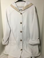Susan Graver Roll Tab Sleeve White Jacket Size 2X