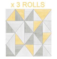 Trending Apex Geometric Wood Grain Wallpaper Grey Yellow Fine Decor FD42223