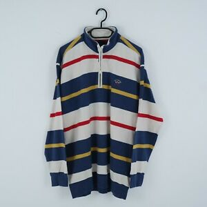 PAUL SHARK YACHTING Vintage Mens Striped 100% Pure Cotton Henley Jumper SIZE XL