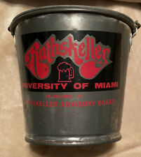 Vintage 1980 University Of Miami Rathskellar Metal Beer Tin Bucket