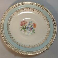 """Crown Potteries Co #649 - Saucer 5 3/4"""" D - Gold Laurel, Blue Rim, Floral Center"""