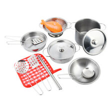 16pcs Stainless Steel Pots and Pans Cookware Pretend Kitchen Play Set for Kids D