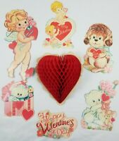 7 Vintage Valentine Paper Die Cut Out Decorations Cupid Puppy Kitty Heart