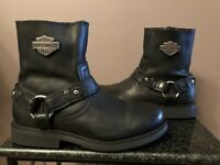 Harley-Davidson Scout Black Mens Leather Boots Inside Zip D95262 Size 7.5