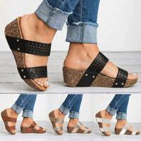 Women Wedge Flat Sandals Slipper Ladies Summer Casual Platform Slider Shoes Size
