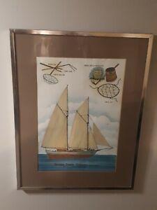 VTG w.m. johnson jr. bahamian artist bahama sponge schooner 1930s water color